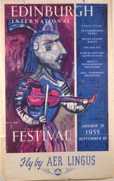 Vintage poster from 1955 advertising the Edinburgh Festival with Aer Lingus. The painting featured is by Glasgow-born artist Robert Henderson Blyth (1919-1970).