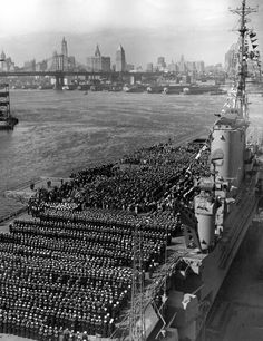The aircraft carrier Franklin D. Roosevelt in New York Harbor on Navy Day, October 27, 1945.
