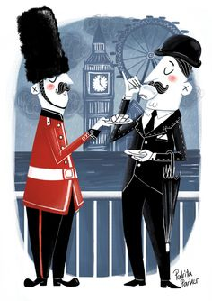 Illustration by Pedrita Parker for Beefeater London District exhibition by Tetera&Kiwi #london #illustration #teatime #retro