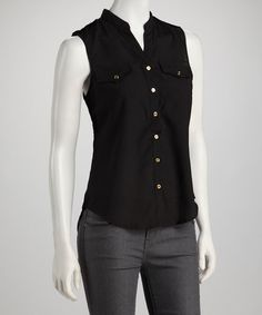 Take a look at this Black Military Sleeveless Button-Up by Simply Irresistible on #zulily today!