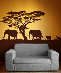 Vinyl Wall Decal Sticker Safari Theme Elephant Family #OS_AA104 | Stickerbrand wall art decals, wall graphics and wall murals.