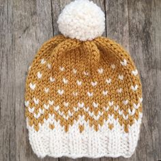 Mountain Toque Knit Hat Knit Beanie Fair by RusticWillowCreation