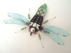 Big Pink Eyed Broad Bodied Dragonfly by DewLeaf on Etsy