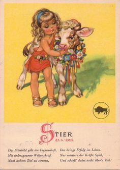 alte Ak Künstlerkarte, Sternzeichen Stier, Kind mit jungen Stier | eBay
