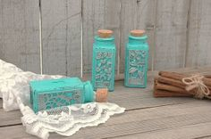 Spice Jars Shabby Chic Tiffany Blue Glass by TheVintageArtistry, $29.00