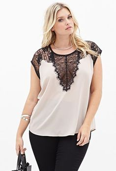 This is my fave sexy blouse, wish I could find another one (just in case. :p) Ornate Lace Blouse Curvy Fashion, Modest Fashion, Love Fashion, Girl Fashion, Plus Fashion, Womens Fashion, Korean Fashion, Moda Plus Size, Plus Size Tops