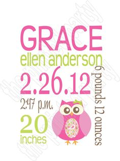 Personalized Nursery Decor Wall Art Birth Announcement - Baby Shower Gift - Keepsake - Baptism Gift - Baby Stats - Pink and Green - Owl 011 on Etsy, $15.00