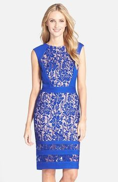 Tadashi Shoji Pleated Lace Sheath Dress available at #Nordstrom