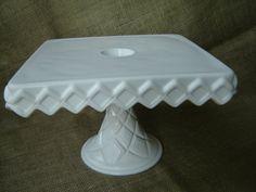 Vintage Milk Glass Square Pedestal Cake Stand Wedding by magark, $39.95