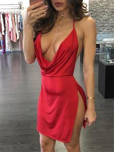 8163c0bf15f1c Shop Sexy Backless Halter Neck Plunged Dress – Discover sexy women fashion  at IVRose