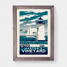 Martha s Vineyard Massachusetts sérigraphie par RetroScreenprints