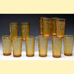 Tiara amber sandwich glass tumblers