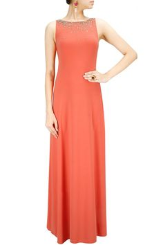 Apricot sequin embellished gown. BY NAMRATA JOSHIPURA. Shop now at: www.perniaspopups... #perniaspopupshop #designer #stunning #fashion #style #beautiful #happyshopping #love #updates