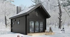 Honka's Small Homes – A Variety to Choose From Black House Exterior, Modern Exterior, Cabin Design, Cottage Design, Small Dream Homes, Small Homes, Scandinavian Cabin, Backyard Pool Designs, Lodge Style