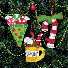Sweet Treat Felt Christmas Ornaments Kit & other ornaments