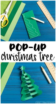 Make a pop up christmas tree paper craft! Fun and easy christmas craft for kids to make. Christmas art project.