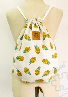 Pineapple drawstring bag Canvas Cotton Backpack Laptop by YourBags