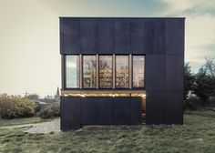 Blackened plywood box (Private Library) by architect Antonin Ziegler