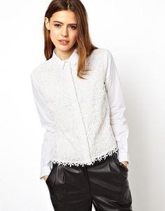 Image 1 ofASOS Shirt with Heavy Ethereal Lace Panel