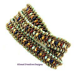Superduo Wrap Bracelet by Sweet Freedom Designs; https://www.etsy.com/listing/223441988/beadweaving-tutorial-bracelet-pattern