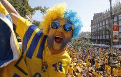 Rock on!This Swedish fan looks on at the Fan Zone ahead of the Euro 2012 soccer championship Group D match in Kiev, Ukraine. Toronto Fc, Toronto Star, Fan Image, Euro 2012, Soccer Fans, European Championships, That Look, Stars, Kiev Ukraine
