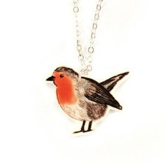 This red robin necklace has been made from one Layla's original illustrations which has been printed onto plastic. It is hanging on a delicate silver plated chain.The bird measures approx. Blue Coats, Art Forms, Fashion Accessories, Handmade Jewelry, Pickle, Robins, Delicate, Stationery, Designers