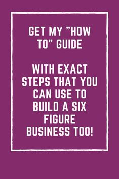 Starting and growing a six figure business doesn't have to be just a dream. YOU can do it! How would it feel to create you empire and design the life you want? Amazing right? Well I'm here to help you take step by step actions to creating your dream life.