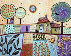 Outskirts 14x11 Houses Birds Girl Cat ORIGINAL Canvas PAINTING FOLK ART Karla G..new painting for sale