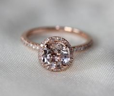 Have Stock! Round Cut  7mm VS  Halo Morganite Ring 14K Rose Gold SI/H Diamonds Wedding Ring /Engagement Ring/ Promise Ring/ Anniversary Ring on Etsy, $349.00