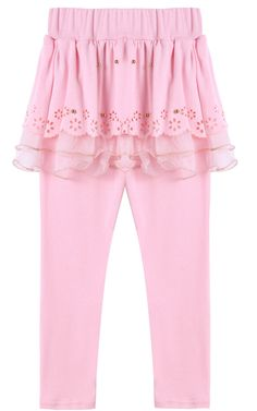 Arshiner Little Girls Winter Warm Leggings Pants with Tutu Lace Skirt,Pink