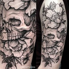 Skull tattoo #fineline #engraving #etching #lineworker #dotworker #surrealism #blackworker #tattoos #btattooing #blackworkerssubmission #bw #skinartmag #thebesttattooartists #darkartists #onlyblackart #skull #peonies #...