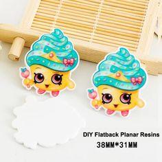 50pcs/lot Cartoon Shopping Little Cake Resin Flatback for Hair Bows Kawaii Planar Resin Crafts for DIY Phone Decorations