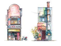 Aquarelas registram a vida das fachadas comerciais de Tóquio,Imagem © Mateusz Urbanowicz