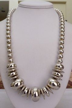 """24"""" LONG LARGE PUFFY RHODIUM PLATED POLISHED DISC BEADS NECKLACE 91.1 GRAMS"""