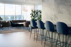 Sea view bar and lounge. Interior design by Sistem Interior Architects. Office Interior Design, Office Interiors, Interior Architects, Conference Room, Lounge, Sea, Table, Projects, Furniture