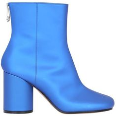 Maison Margiela Satin ankle boots (€780) ❤ liked on Polyvore featuring shoes, boots, ankle booties, blue, zip ankle boots, blue boots, maison margiela, zip boots and blue ankle boots