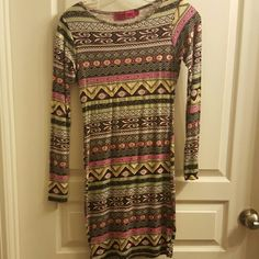 Aztec long sleeve mini dress Only worn once! Basically new condition. Boohoo Dresses Mini