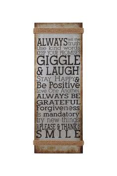 Inspiration abounds in this antiqued metal wall sign, featuring uplifting sentiments paired with rope trim. Product: Wall decorConstruction Material: Metal and ropeFeatures: Typographic motifRope trimDimensions: H x W x D Great Quotes, Quotes To Live By, Me Quotes, Inspirational Quotes, Motivational, Quirky Quotes, Simple Quotes, It Goes On, Wall Signs