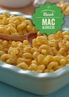 Ranch Mac 'n Cheese - Extra Creamy Recipe oil (oil for cups pasta (gemelli can ounces) evaporated milk (evaporated cup Hidden Vegetarian Recipes, Cooking Recipes, Healthy Recipes, Veggie Recipes, Pasta Dishes, Food Dishes, Side Dishes, Good Food, Yummy Food