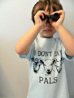 I Dont Eat Pals Vegan Kids shirt all sizes / Hand Printed. $20.00, via Etsy.