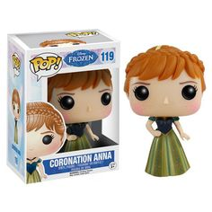 This Disney Frozen Funko Pop! Vinyl Coronation Anna collectible figure stylizes Elsa's sister in a chibi inspired format that is 3 3/4-inch tall. Anna appears as she was during the coronation ceremony in the movie - with a green dress and braided hair.  #nesteduniverse