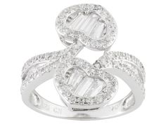 Bella Luce (R) 2.62ctw Round, Baguette, & Tapered Baguette Rhodium Over Silver Ring (1.62ctw Dew)