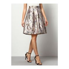 SheIn(sheinside) Multicolor Florals Flare Skirt With Elastic Waist (24 AUD) ❤ liked on Polyvore featuring skirts, multi, elastic waist skirt, print skater skirt, floral print skirt, floral skater skirt and elastic waist circle skirt