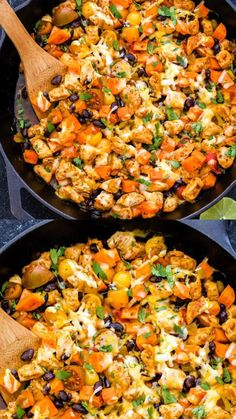 Mexican Chicken, Sweet Potato and Black Bean Skillet is an easy dinner all made in one skillet. Top this healthy dinner with shredded cheese and cilantro for a fast and delicious Mexican inspired meal! #chicken #onepot #skillet #easyrecipes #healthydinner #chickenrecipes #sweetpotatoes #mexicanfood #healthyrecipes