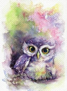 ♡ Beautiful Watercolor Owl ♡