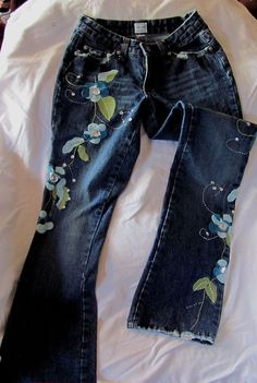 "Guess Dark Blue Distressed Gemed Floral Straight Leg Jeans 24"" #Guess #StraightLeg"