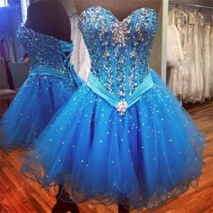 Charming Prom Dress, Blue Tulle Prom Dress, Sexy