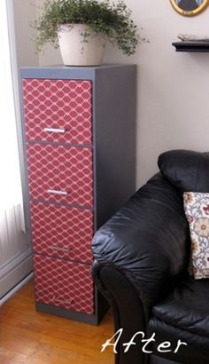 Refurbish a filing cabinet with fabric & paint (10 ways on this website. so fun/cheap!)