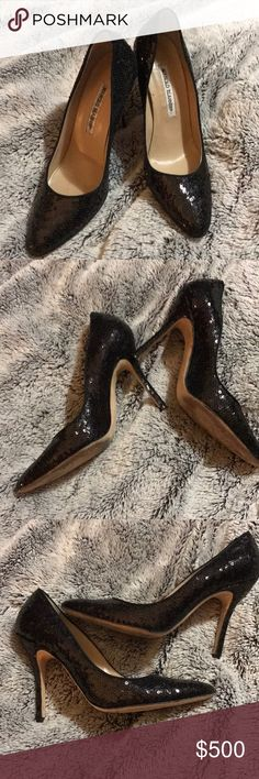 Amazing black sequin Manolo Blahniks These heels are covered in black sequins and are so much fun! 💖 Manolo Blahnik Shoes Heels