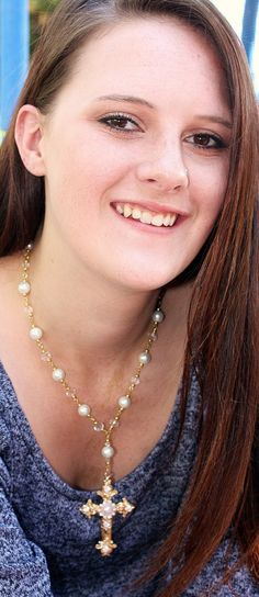 Pearl and gold 18 inch cross necklace by KConklinJewelry on Etsy